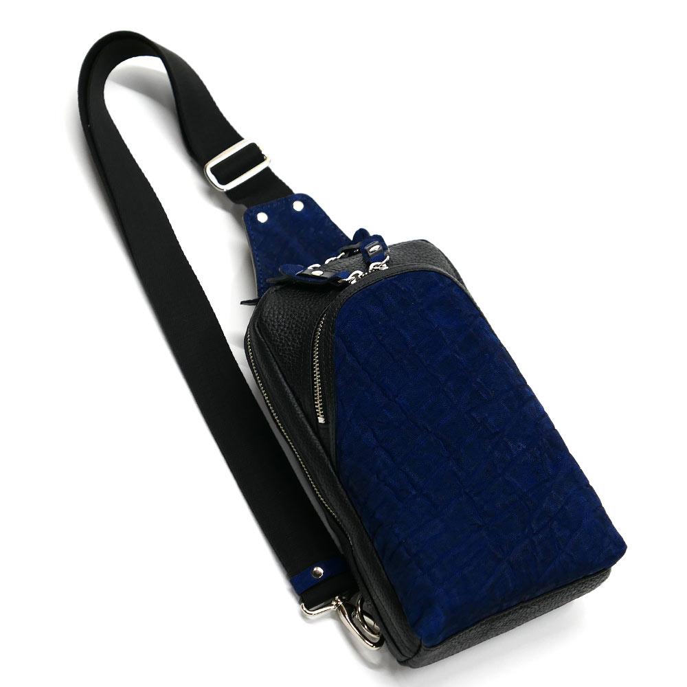 エレファントレザー ゾウ革 本革 ボディーバック ワンショルダーバッグ メンズ 斜めがけ 大容量 藍染 2