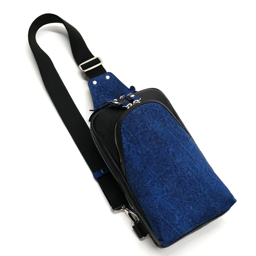 ヒポポタマスレザー カバ革 本革 ボディーバック ワンショルダーバッグ メンズ 斜めがけ 大容量 藍染 2