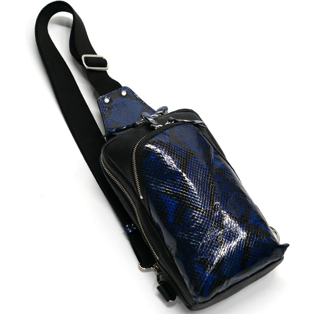 蛇革 パイソン革 本革 ボディーバック ワンショルダーバッグ メンズ 斜めがけ 大容量 グレージング 藍染 2