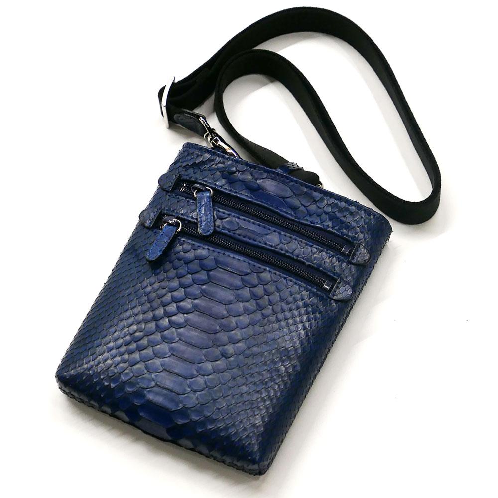 ショルダーバック メンズ レディース 本革 パイソン革 蛇革 縦型 薄型 ショルダーベルト付き 藍染 2