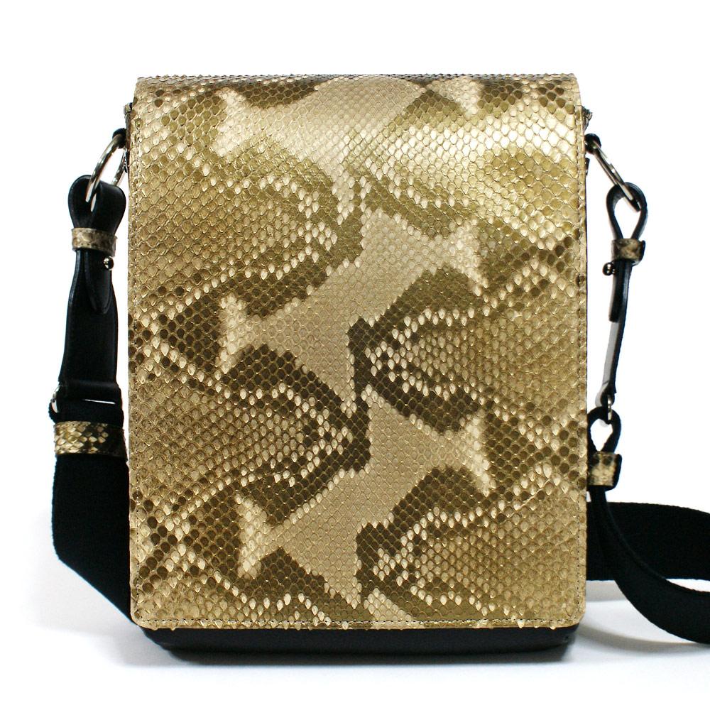 ショルダーバッグ メンズ バッグ 本革 レザー 牛革 B5 革 斜めがけバッグ パイソン 蛇革 ヘビ革 日本製 ブロンズ ベージュ