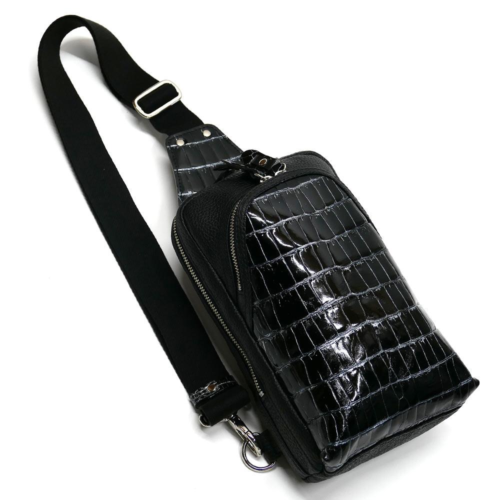 クロコダイル革 ワニ革 本革 ボディーバック ワンショルダーバッグ メンズ 斜めがけ 大容量 グレージング バリバー シルバー 2