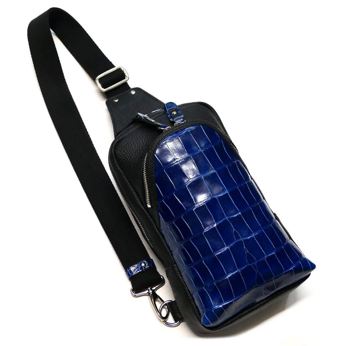 クロコダイル革 ワニ革 本革 ボディーバック ワンショルダーバッグ メンズ 斜めがけ 大容量 グレージング 藍染 2