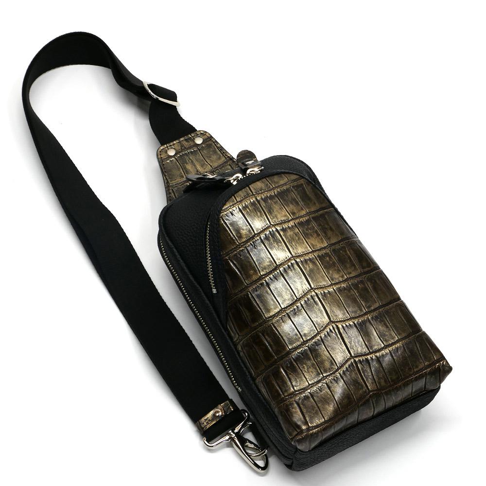 クロコダイル革 ワニ革 本革 ボディーバック ワンショルダーバッグ メンズ 斜めがけ 大容量 ラグジュアリー チョコ 2