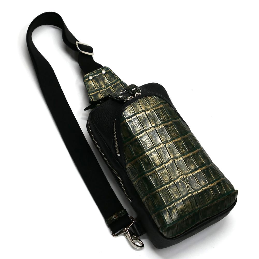 クロコダイル革 ワニ革 本革 ボディーバック ワンショルダーバッグ メンズ 斜めがけ 大容量 ラグジュアリー グリーン 2