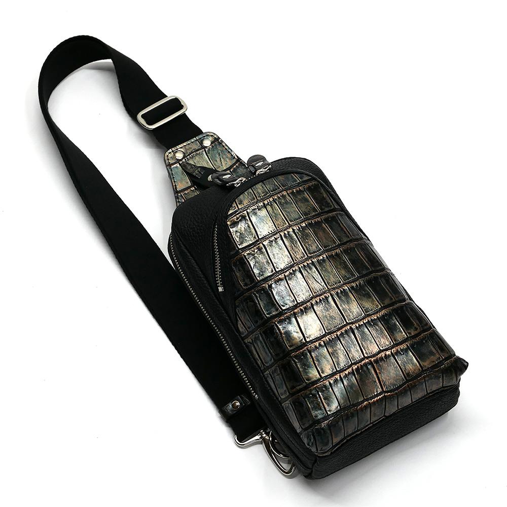 クロコダイル革 ワニ革 本革 ボディーバック ワンショルダーバッグ メンズ 斜めがけ 大容量 ラグジュアリー レトロ 2