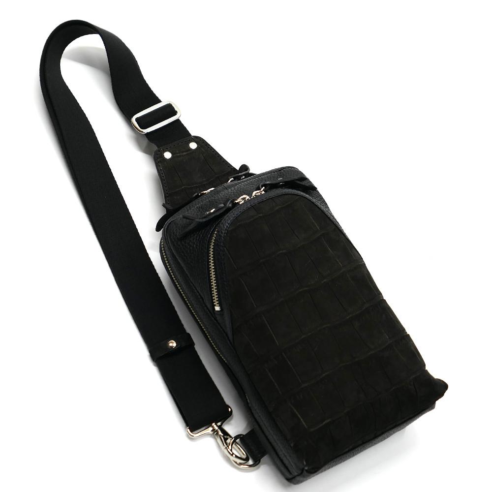 クロコダイル革 ワニ革 本革 ボディーバック ワンショルダーバッグ メンズ 斜めがけ 大容量 ヌバック ブラック 2