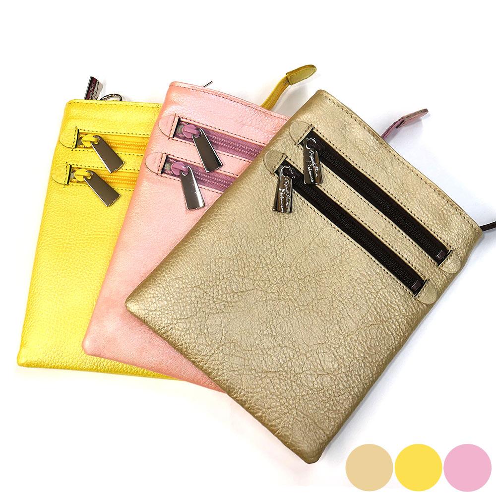 ショルダーポーチ 牛革 バッグ レザー コンパクト ベルト付き 日本製 1 各色 シャンパンゴールド イエロー ピンク