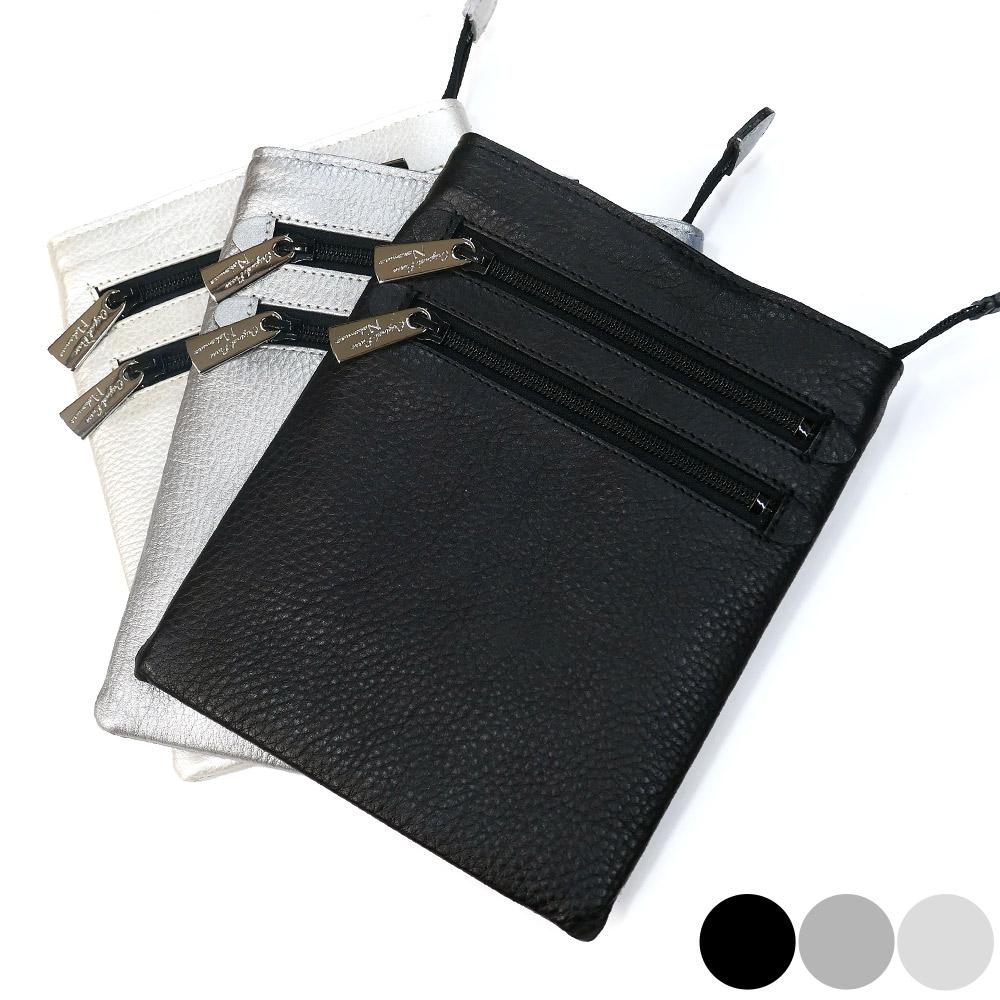 ショルダーポーチ 牛革 バッグ レザー コンパクト ベルト付き 日本製 3 各色 ブラック メタリックシルバー シルバー