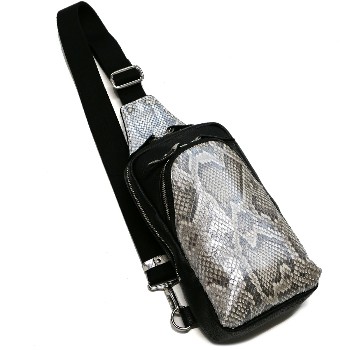 ボディーバック ワンショルダーバッグ メンズ モラレス パイソン革 蛇革 本革 斜めがけ 大容量 パール シルバー 2