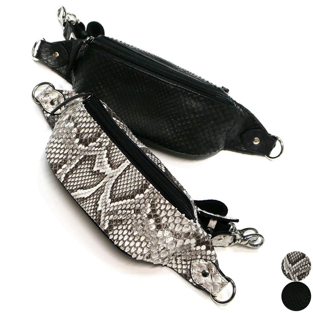 モラレス パイソン 蛇革 牛革 コンパクト ボディバッグ マット 全2色