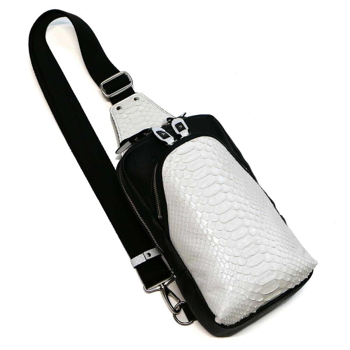 ボディーバック ワンショルダーバッグ メンズ ダイヤモンド パイソン革 蛇革 本革 斜めがけ 大容量 マットホワイト 2