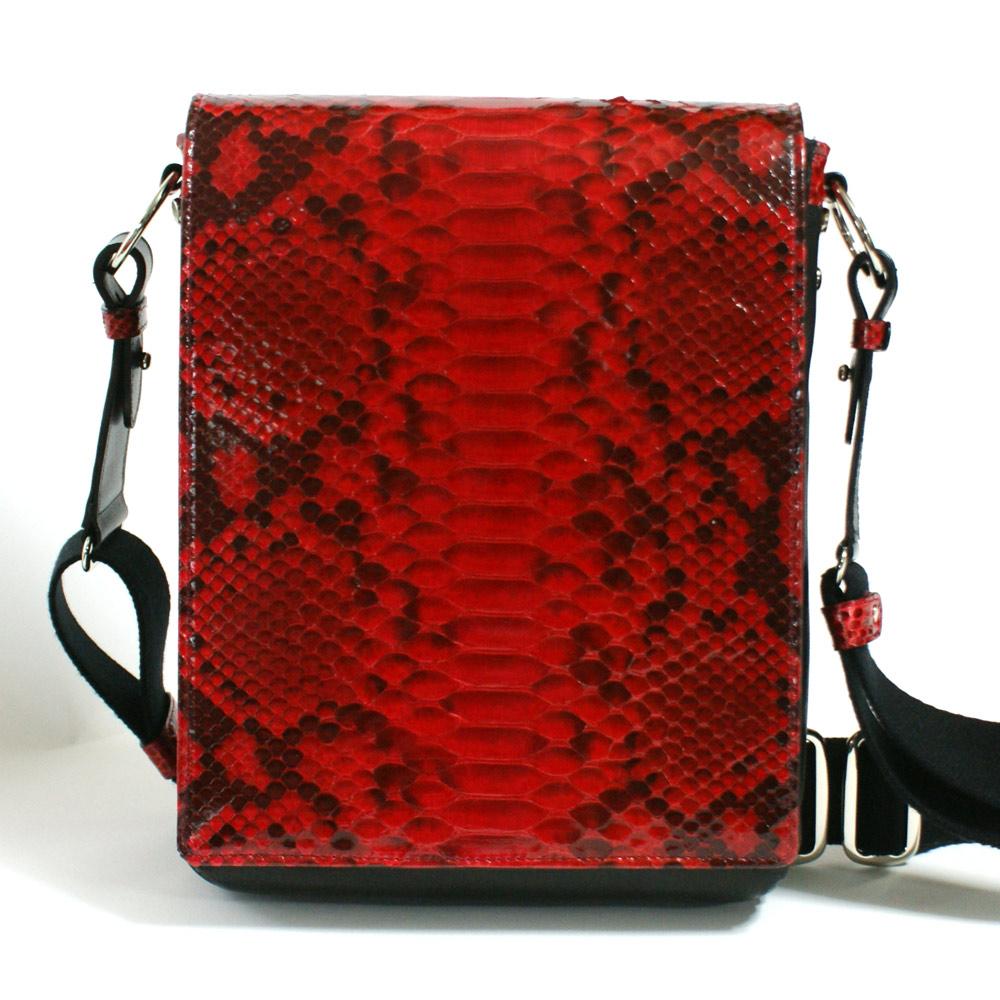 ショルダーバッグ メンズ バッグ 本革 レザー 牛革 B5 革 斜めがけバッグ パイソン 蛇革 ヘビ革 日本製 柄 ナチュラル レッド