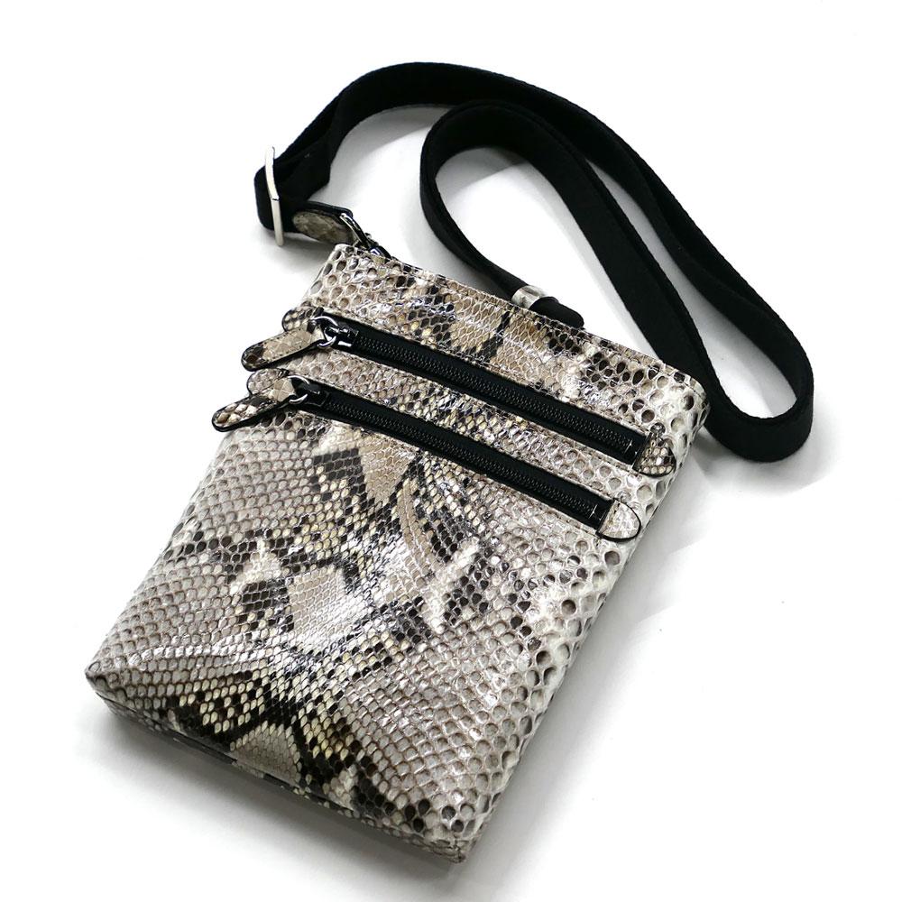 ショルダーバック メンズ レディース 本革 パイソン革 蛇革 縦型 薄型 ショルダーベルト付き ナチュラル 白黒 2