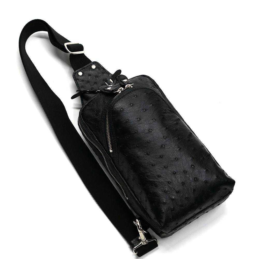 オーストリッチ革 ダチョウ革 本革 ボディーバック ワンショルダーバッグ メンズ 斜めがけ 大容量 ブラック 2