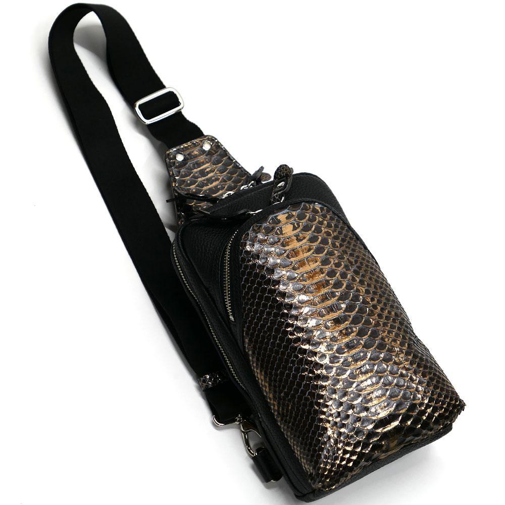 蛇革 パイソン革 本革 ボディーバック ワンショルダーバッグ メンズ 斜めがけ 大容量 ラスター チョコ 2
