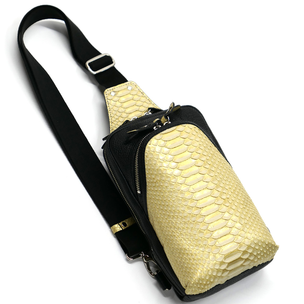 蛇革 パイソン革 本革 ボディーバック ワンショルダーバッグ メンズ 斜めがけ 大容量 ゼブラ ゴールド 2