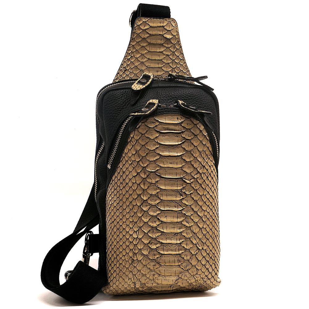 ワンショルダーバッグ レザー 蛇革 パイソン 日本製 メンズ レディース 送料無料 ゼブラ ベージュ