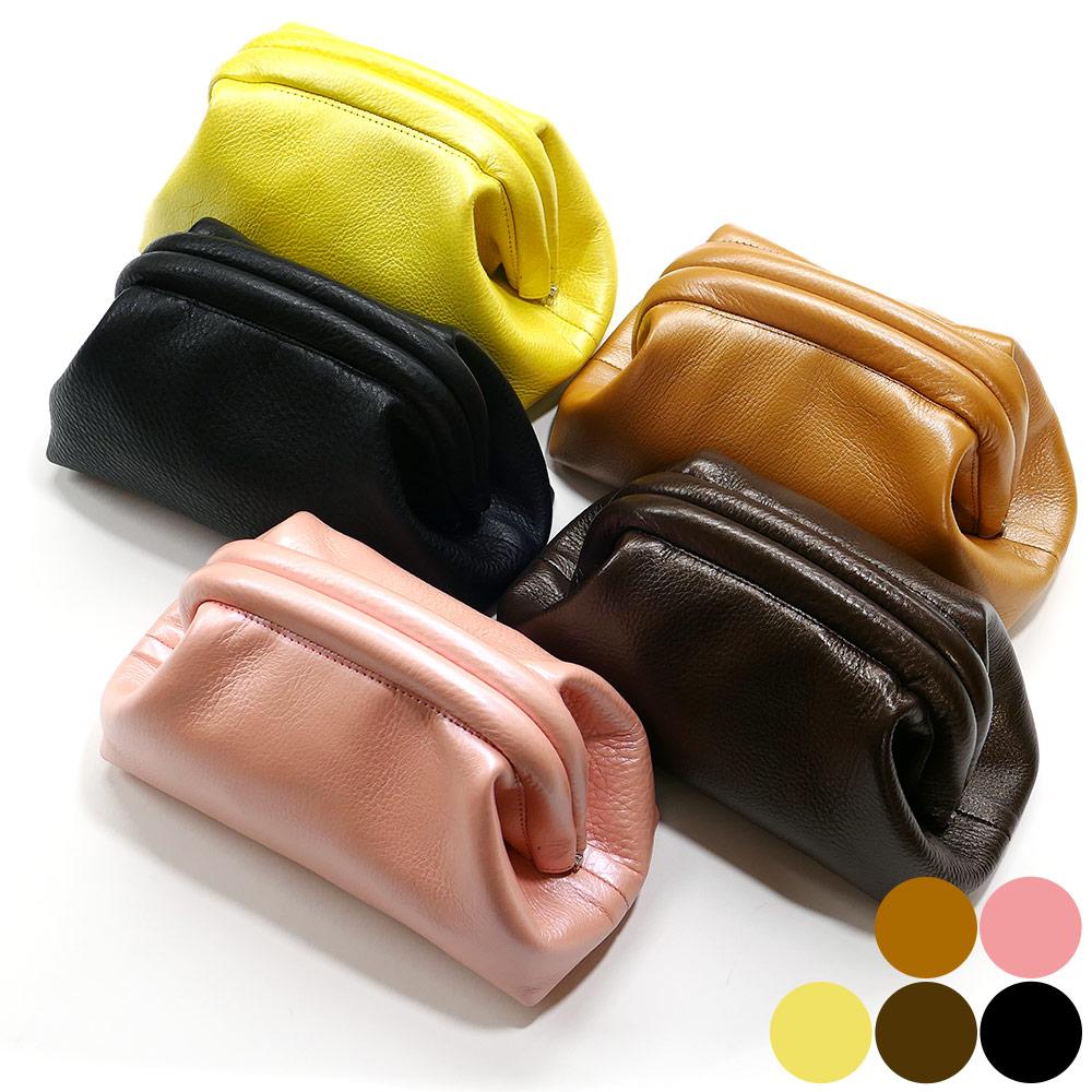 牛 レザー口金 セカンドポーチ 化粧ポーチ 日本製、本革、牛革 カラー 2 各色 ブラウン ピンク イエロー チョコ ブラック