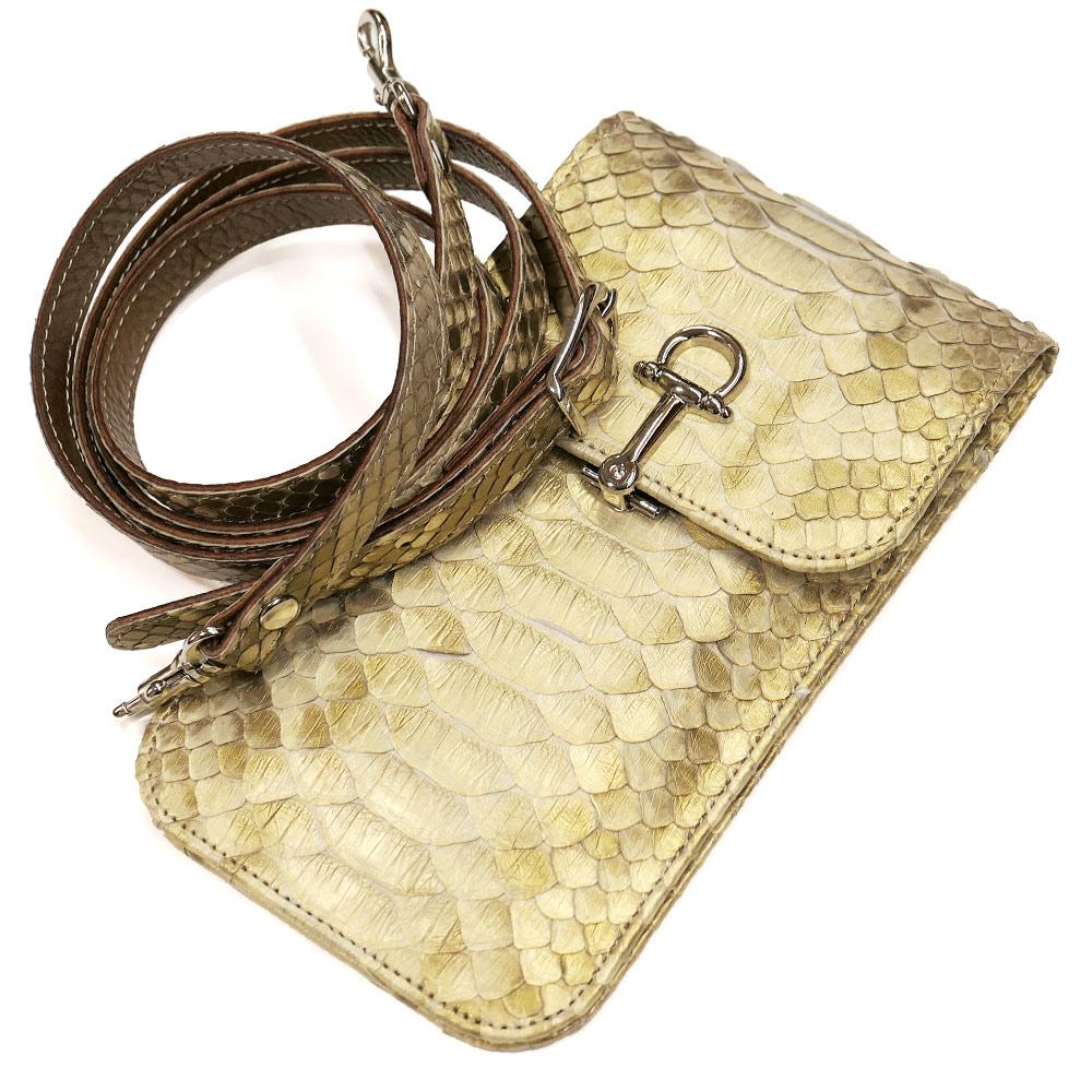 スマートフォン ケース 携帯電話 ホルダー レザー 革 ベルト付き 日本製 ポケット収納 パイソン革 蛇革 パール ゴールド