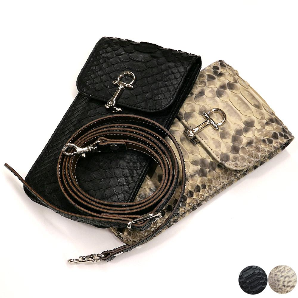 スマートフォン ケース 携帯電話 ホルダー レザー 革 ベルト付き 日本製 ポケット収納 パイソン革 蛇革 マット 全2色 ブラック ベージュ