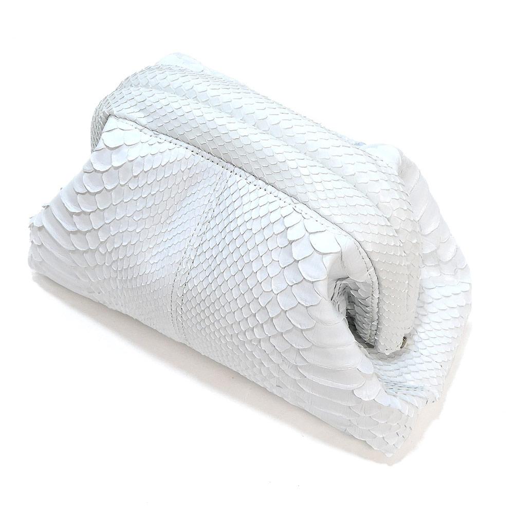 セカンドポーチ 化粧ポーチ ミニバック 口金 本革 パイソン革 蛇革 レザー レディース 日本製 マット ホワイト