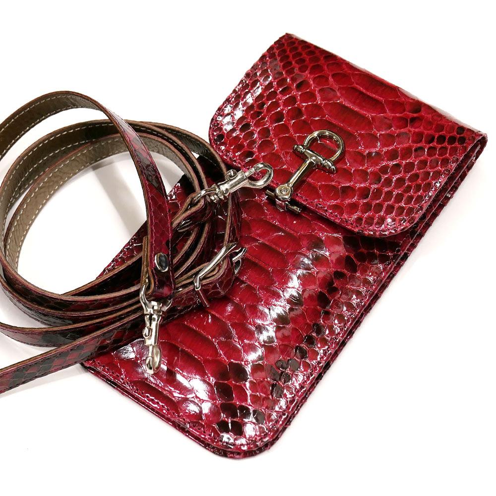 スマートフォン ケース 携帯電話 ホルダー レザー 革 ベルト付き 日本製 ポケット収納 パイソン革 蛇革 ナチュラル レッド