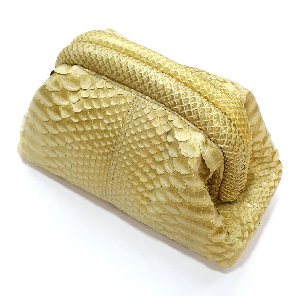 セカンドポーチ 化粧ポーチ ミニバック 口金 本革 パイソン革 蛇革 レザー レディース 日本製 ゼブラ ゴールド
