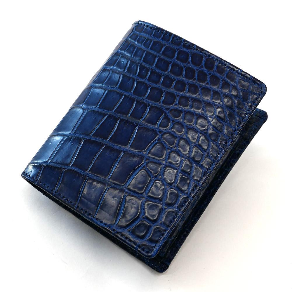 クロコダイル革 財布 鰐 クロコ 鰐革 財布 二つ折り財布 折り財布 レディース財布 メンズ財布 ボックス型小銭入れ付 送料無料 藍染