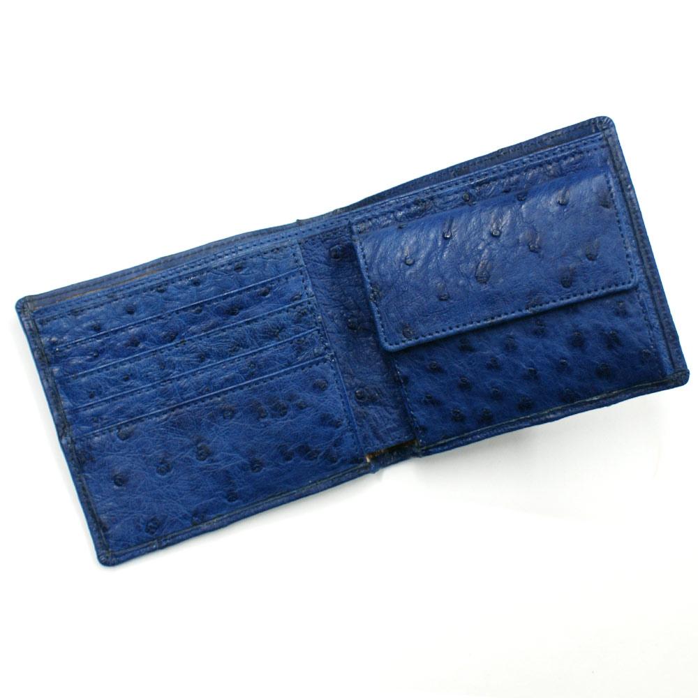 財布 二つ折り財布 折り財布 札入 オーストリッチ革 財布 駝鳥 駝鳥革 本革 レザー 小銭入れ付 レディース財布 メンズ財布 送料無料 藍染