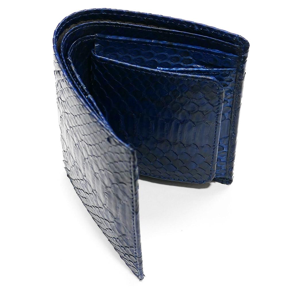 二つ折り財布 ボックス型小銭入れ パイソン 本革 無双 藍染
