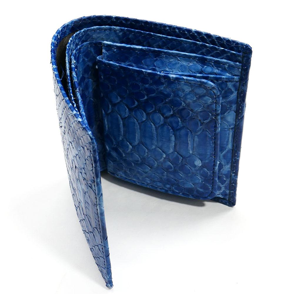 二つ折り財布 ボックス型小銭入れ パイソン 本革 無双 絞り染め 藍染