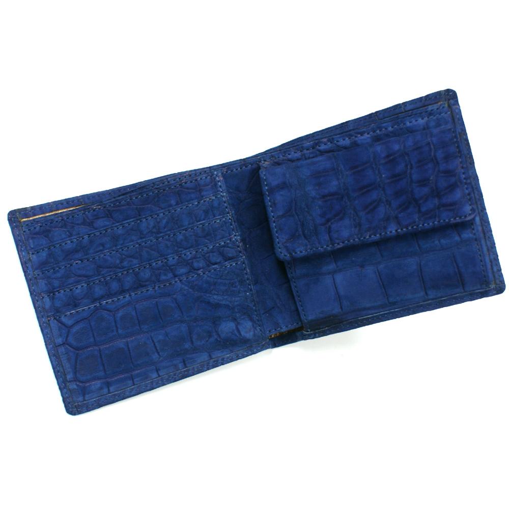 財布 二つ折り財布メンズ財布 クロコダイル 小銭収納あり 無双 全面 ワニ革 クロコ サイフ 折り財布 札入 日本製 ヌバック 吟擦り仕上げ ブルー 青