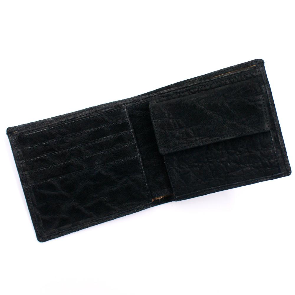 財布 二つ折り財布 メンズ財布 エレファントレザー ゾウ革 象革 本革 無双 全面 小銭入れ有り 収納あり サイフ 折り財布 札入 日本製 黒 ブラック