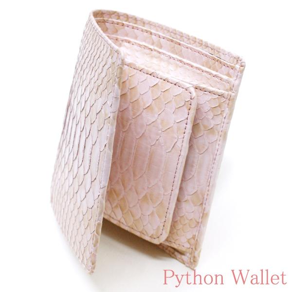 財布 二つ折り財布 折り財布 無双財布 ヘビ 蛇 パイソン 革 へび レディース財布 メンズ財布 ボックス型 小銭入れ付 送料無料 ハーフブリーチ ピンク