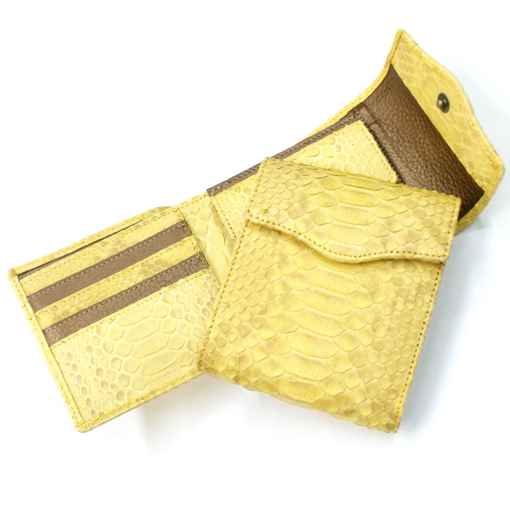 財布 二つ折り財布 折り財布 革財布 札入れ 本革財布 蛇 パイソン ヘビ 革 牛革 かぶせホック付き 小銭入れ有り カード収納 日本製 ハーフブリーチイエロー