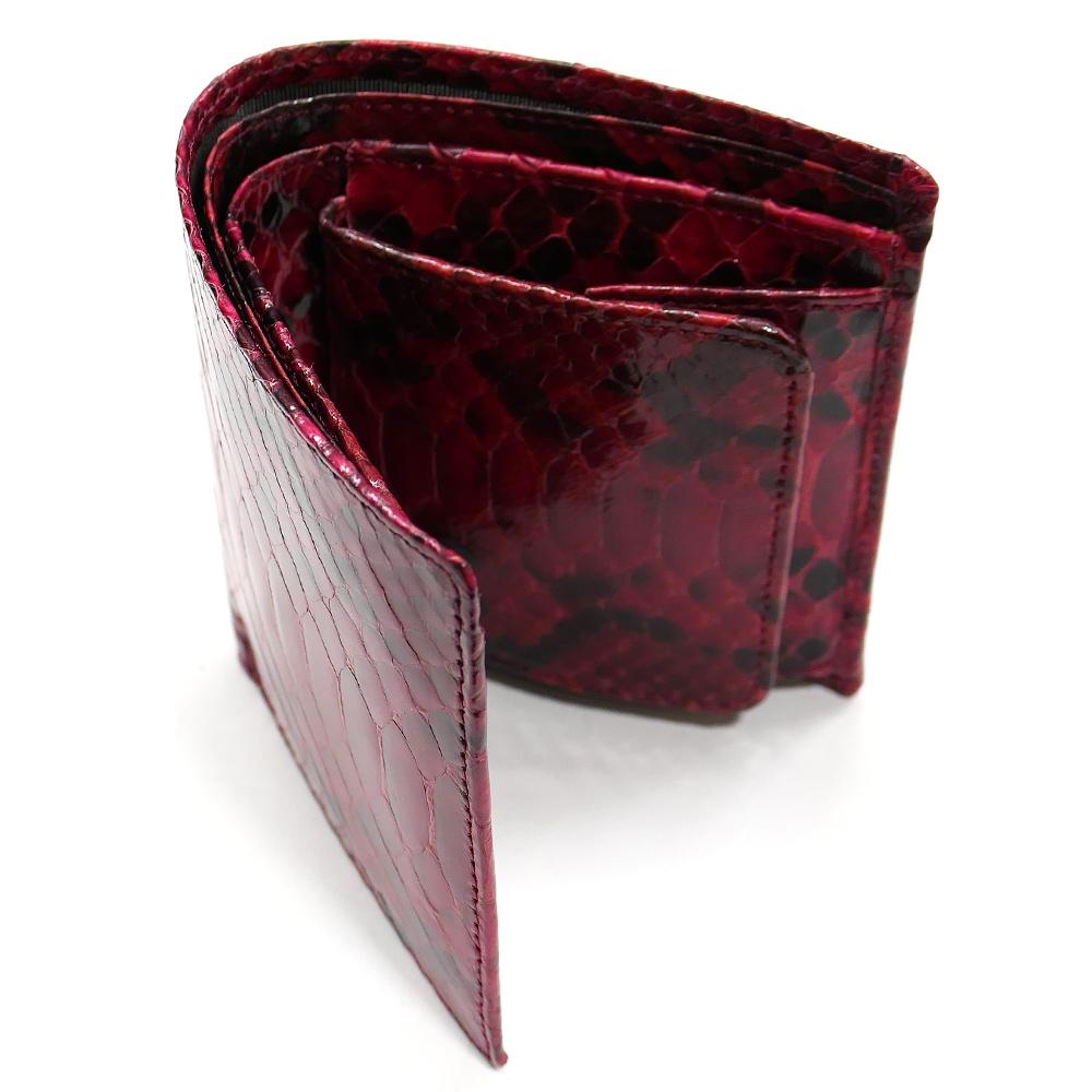 二つ折り財布 ボックス型小銭入れ パイソン 本革 無双 ナチュラル レッド