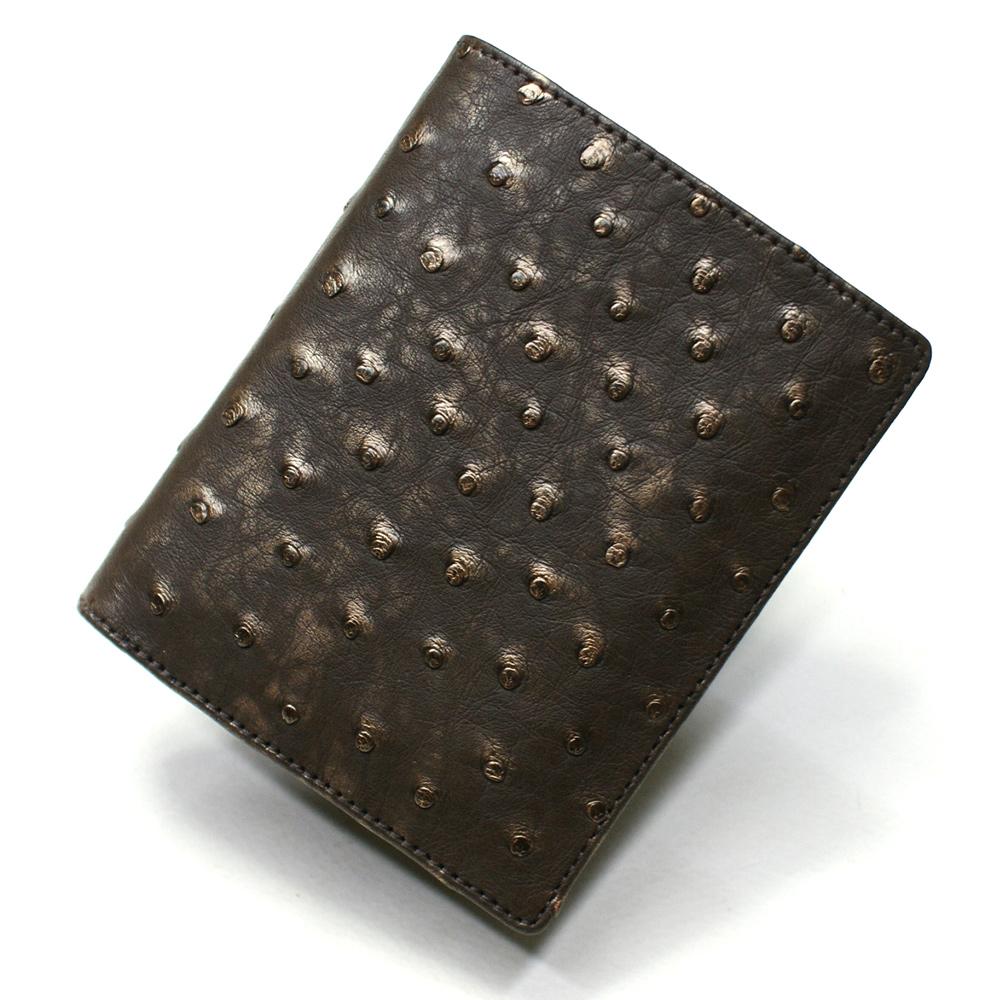 オーストリッチ革 財布 駝鳥革 レザー 本革 財布 二つ折り財布 折り財布 レディース財布 メンズ財布 ボックス型小銭入れ付 送料無料 ラグジュアリー
