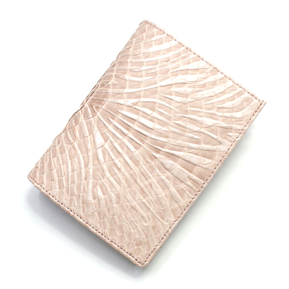 財布 本革 二つ折り財布 レディース 折り財布 横向き 小銭入れあり カード収納 蛇革 パイソン革 牛革 革財布 サイフ さいふ 札入れ 本革財布 日本製 ウェーブ風型押し仕上げ ピンク