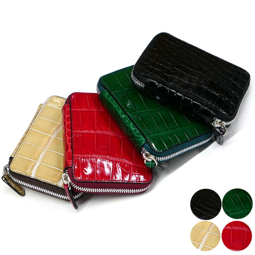 キーケース ラウンドファスナータイプ クロコダイル ワニ革 レザー 牛革 スマートキー キーレス収納 グレージング 全4色