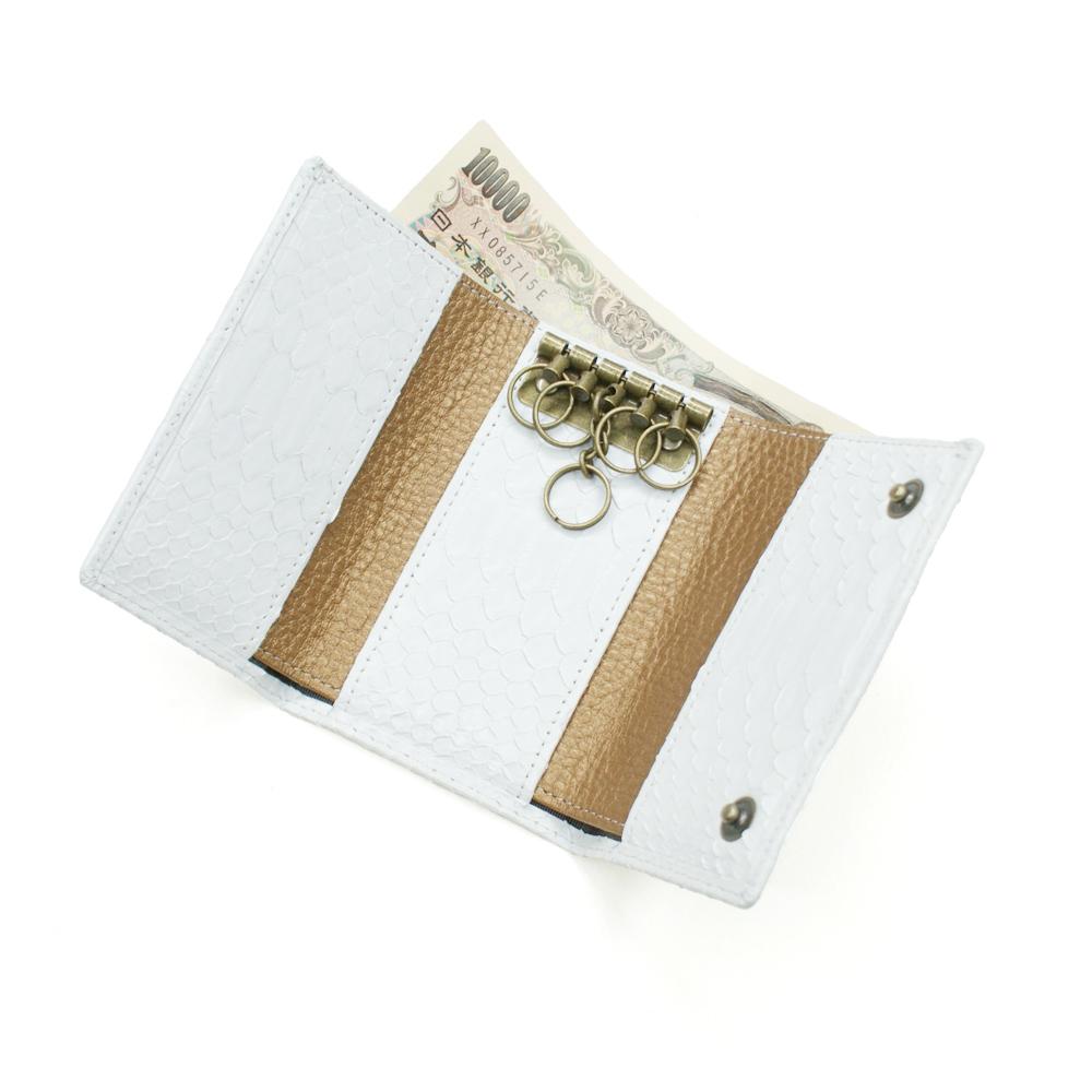 キーケース 札入れ カード入れ キーホルダー 5連金具 蛇革 パイソン革 本革 レザー小物 日本製 メンズ レディース ギフト プレゼント マット ホワイト