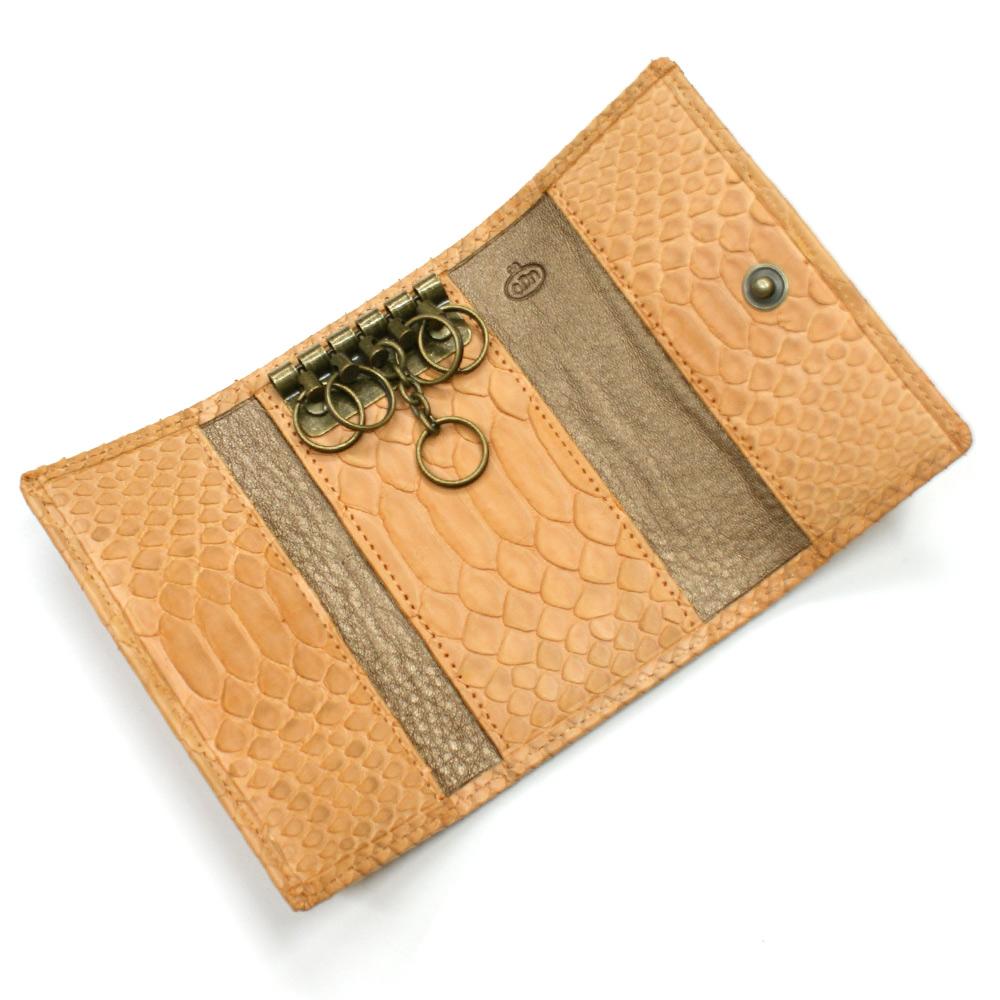 キーケース 本革 キーホルダー パイソン革 蛇革 へび革 レザー 5連金具 キーケース メンズ レディース ギフト プレゼント マット オレンジ