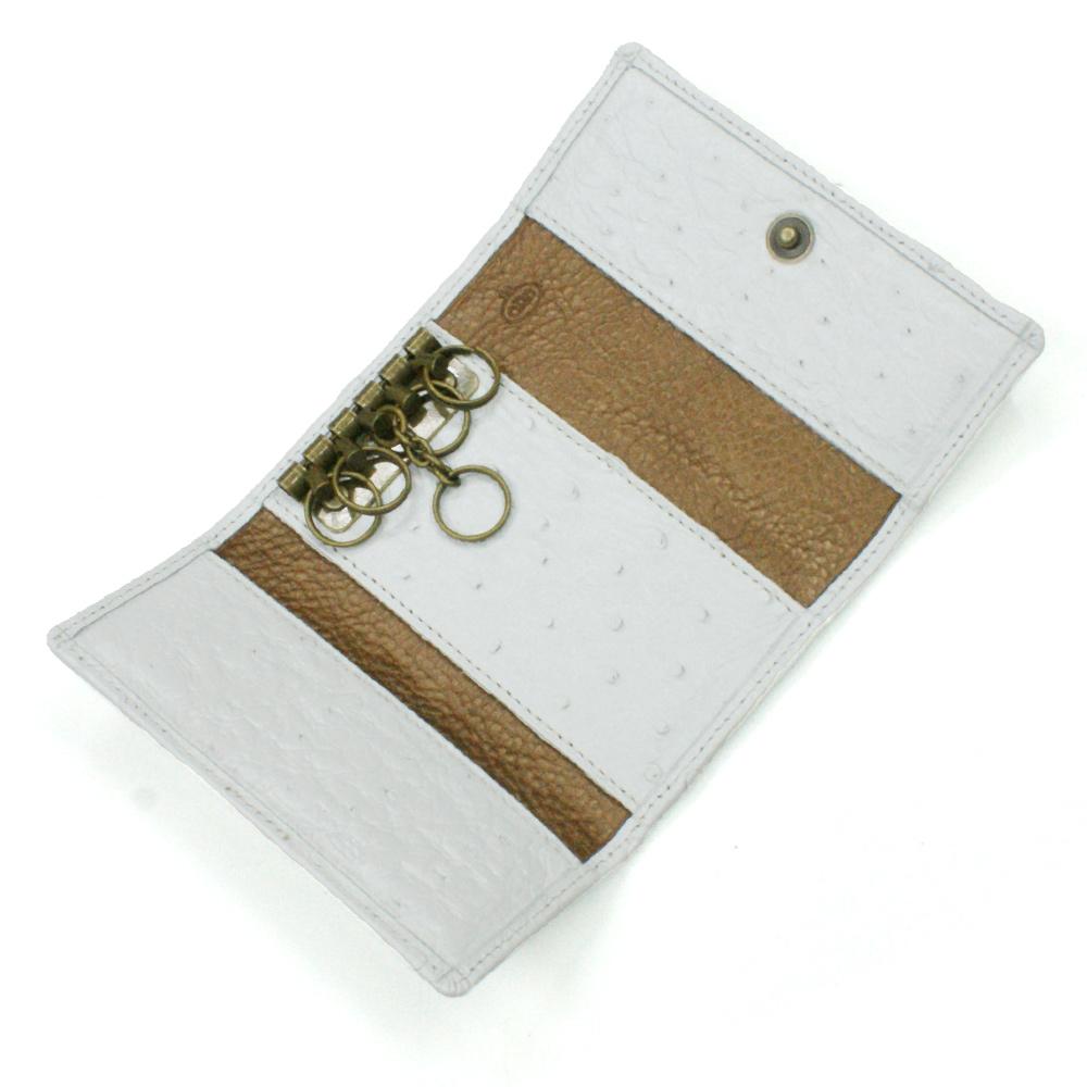 キーケース 本革 キーホルダー オーストリッチ革 駝鳥革 レザー 5連金具 キーケース メンズ レディース ギフト プレゼント ホワイト