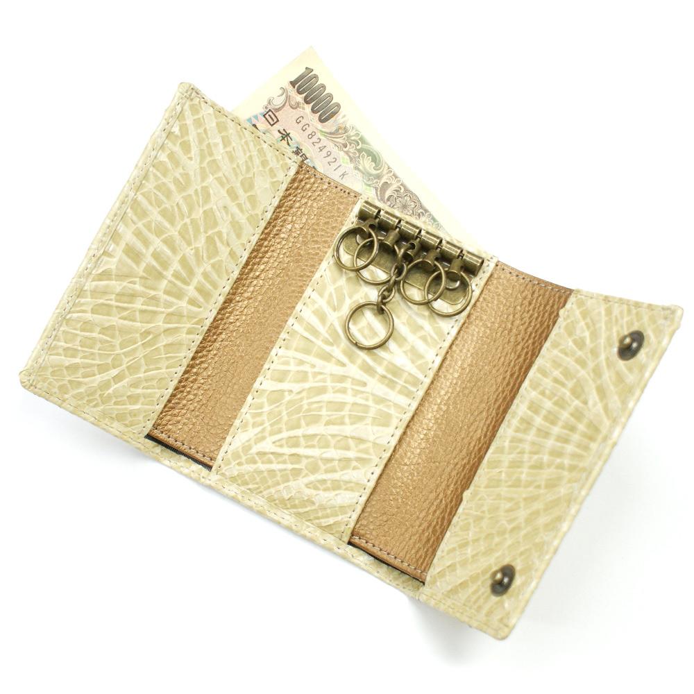 キーケース 札入れ カード入れ キーホルダー 5連金具 蛇革 パイソン革 本革 レザー小物 日本製 メンズ レディース ギフト プレゼント日本製 ウェーブ ベージュ