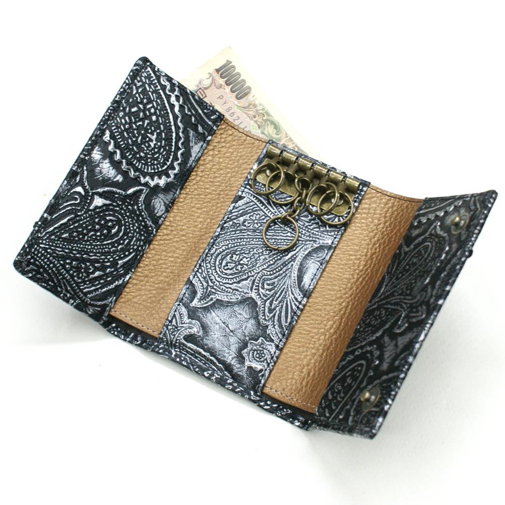 キーケース 札入れ カード入れ キーホルダー 5連金具 蛇革 パイソン革 本革 レザー小物 日本製 メンズ レディース ギフト プレゼント日本製 ペイズリー柄 シルバー