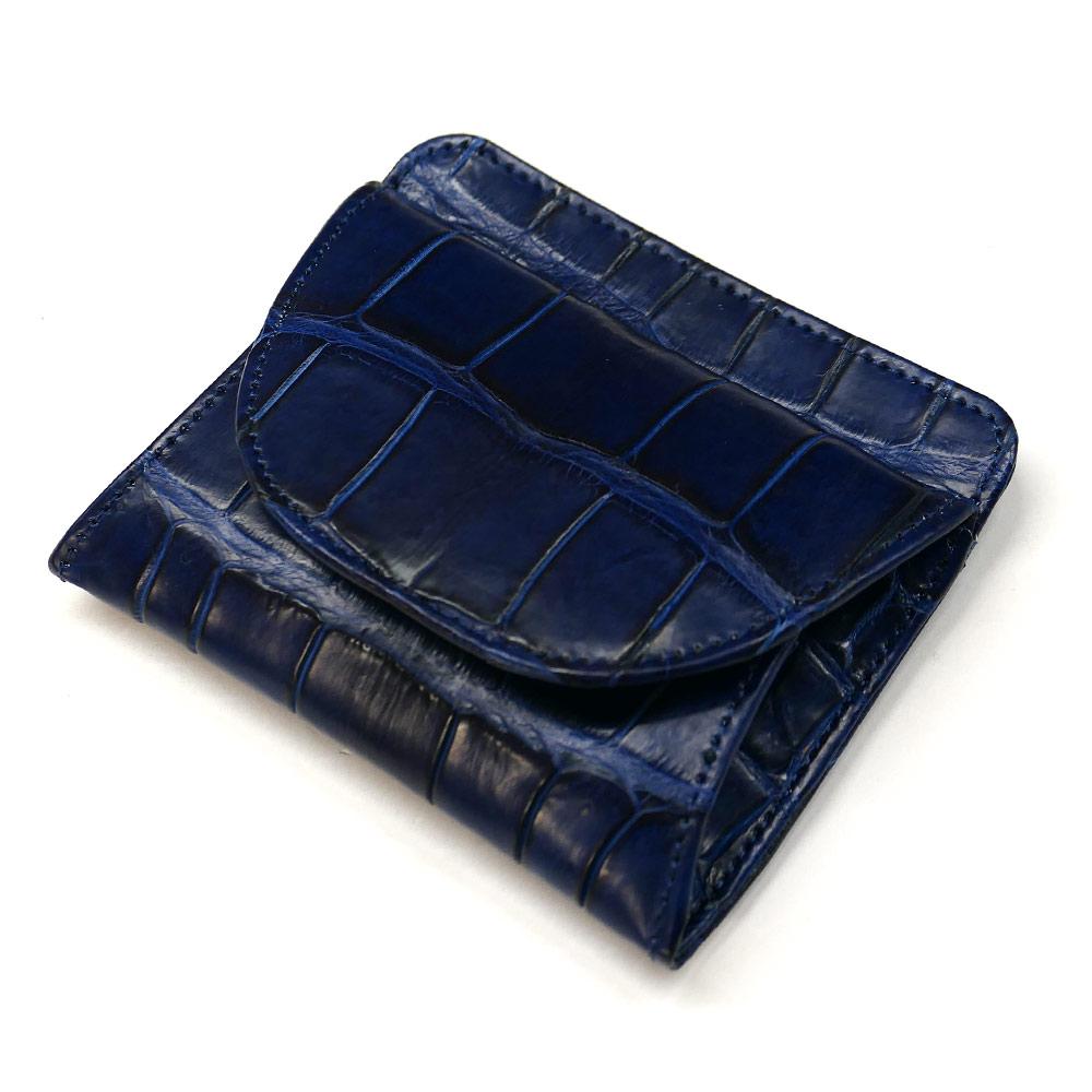 クロコダイル ワニ革 本革 財布 札入れ ボックス型 小銭入れ付 藍染