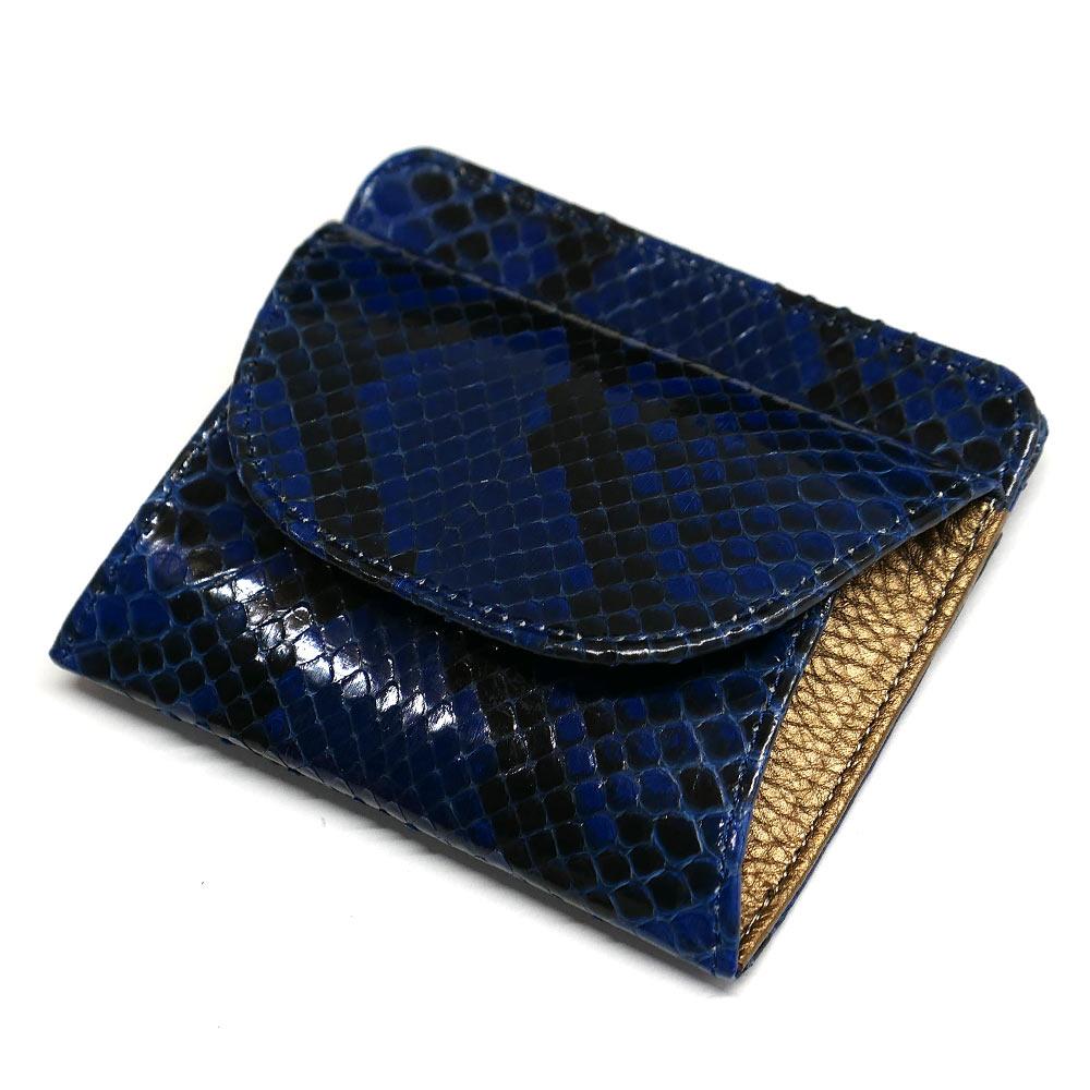 パイソン ヘビ革 本革 財布 札入れ 封筒型 ボックス小銭入れ付 グレージング 藍染 2