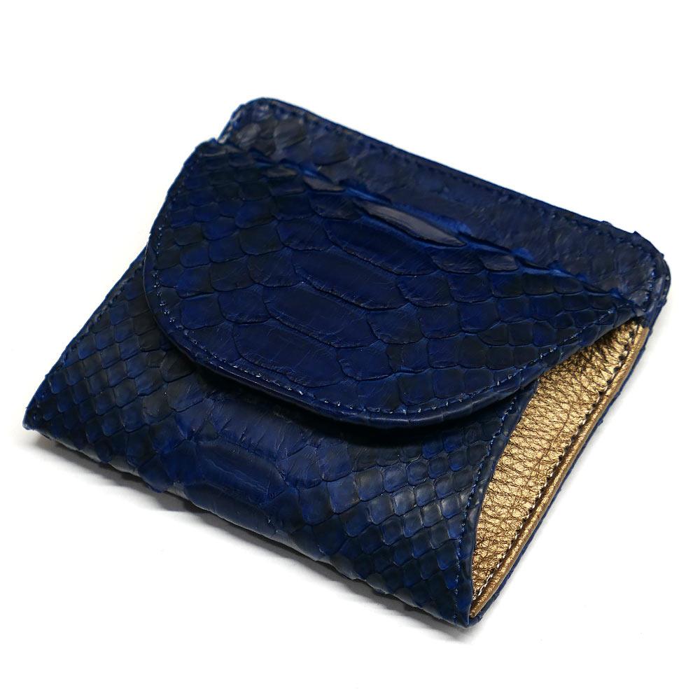 パイソン ヘビ革 本革 財布 札入れ 封筒型 ボックス小銭入れ付 藍染 2