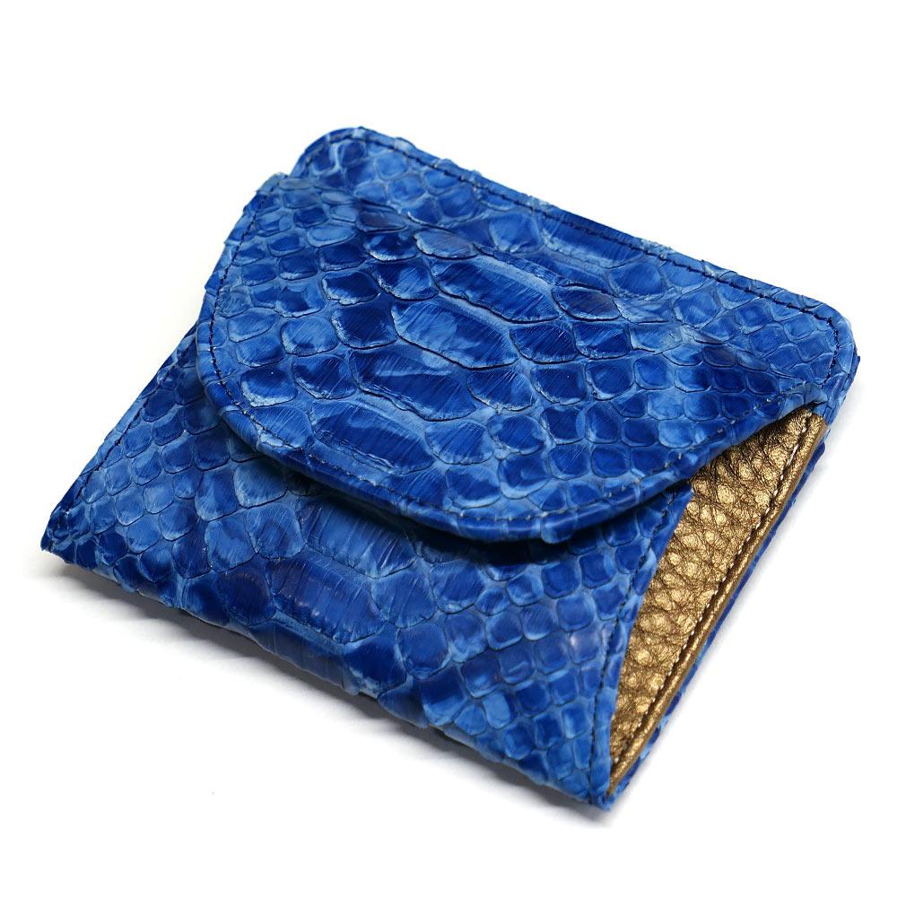 パイソン ヘビ革 本革 財布 札入れ 封筒型 ボックス小銭入れ付 絞り染め 藍染 2