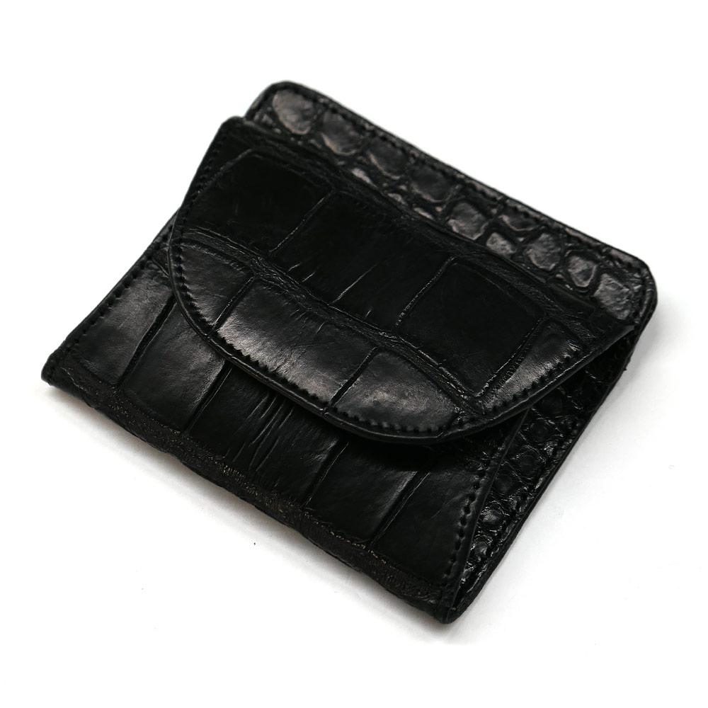 クロコダイル ワニ革 本革 財布 札入れ ボックス型 小銭入れ付 マット ブラック
